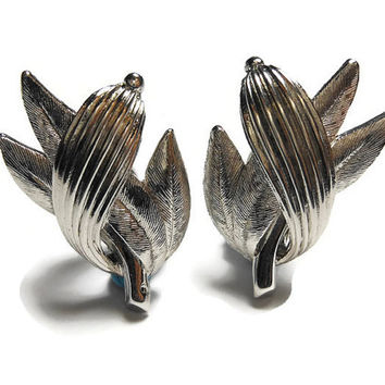 Pastelli clip earrings, signed Pastelli, silver leaves clip earrings, Pastelli was a line for Royal of Pittsburgh, a high end line