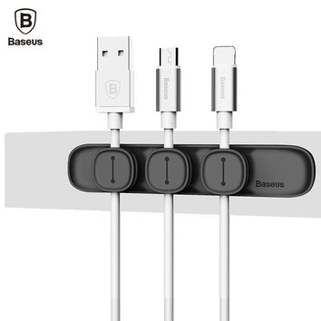Baseus Magnetic Cable Clip USB Cable Organizer Clamp Desktop Workstation Charging Wire Cord Management Cable Holder phone Holder