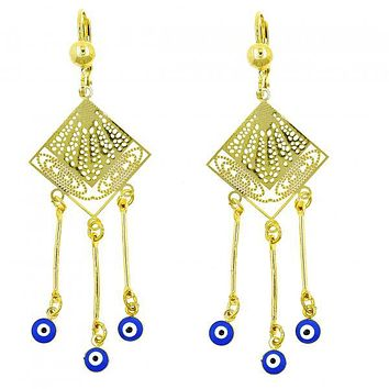 Gold Layered 02.211.0006 Chandelier Earring, Greek Eye Design, with Sapphire Blue Opal, Blue Enamel Finish, Golden Tone