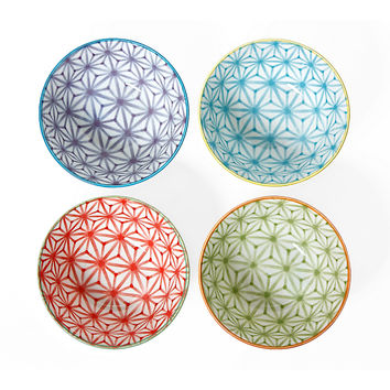 "Assorted Sashiko Color Bowls, 6"", Set of 4, Bowls"