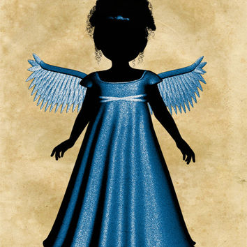 Angel Image, Silhouette Angel Poster,Angel Wall Art,Angel Print,Silhouette Angel Print,Angel Wall Décor,Religious Décor,Kids Room,Baby Room