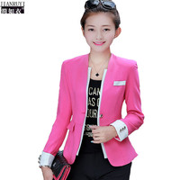 2016 Spring Plus Size Blazer For Women Slim Long Sleeve Fashion Korean Blazer Outerwear One Button Slim ol Work Blazer S-3XL
