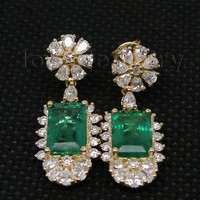 14K Yellow Gold Natural Gemstone Emerald Female Earrings Real Diamond 585 Gold Lady