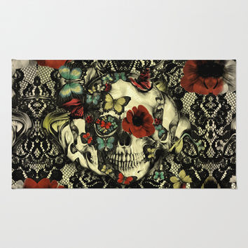 Vintage Gothic Lace Skull Area & Throw Rug by Kristy Patterson Design