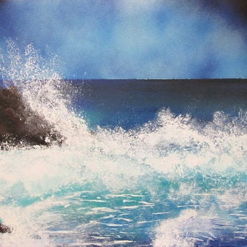 seascape painting,ocean decor,ocean painting,spray paint art,christmas gift for parents,unique painting,gift for him,home decor,office decor