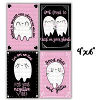 Spooky Cute Ghost Quote Cards, Digital Pack, Ghost Printable Planner Dashboard, Hand-Drawn Printable