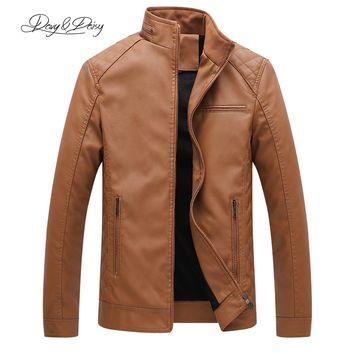DAVYDAISY 2018 Hot Sale PU Leather Jacket Men Autumn Winter Stand Collar Zipper Casual Dress Leather Coat Plus Size 6XL DCT-134