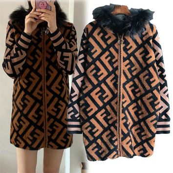 "Hot Sale ""FENDI"" Popular Women Casual FF Letter Jacquard Mohair Knit Hooded Cardigan Jacket Coat"