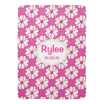 Pink Flowers on Glitter Pink Background Swaddle Blankets