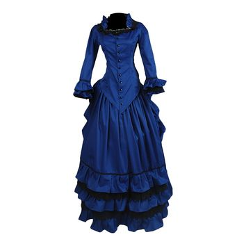 Partiss Womens Royal Blue Victorian Gothic Prom Cocktail Party Ball Gown Dress