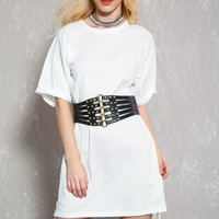 Sexy White Short Sleeve Side Lace Casual Dress