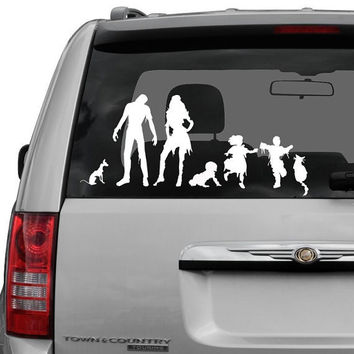 Custom vinyl  Zombie Family Decal with pets and by tawnyamdesigns