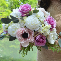 Elodie Wedding Bouquet by Ciel De Lys Lavender Roses White Ranunculus Lilac Poppies Bouquet Silk Flowers Bridal Bouquet