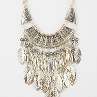 Full Tilt Layered Leaf Statement Necklace Antique Gold One Size For Women 27270462301