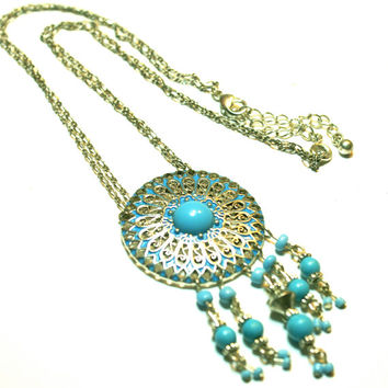 Dream Catcher Necklace Faux Turquoise and Silver Tone South Western Necklace by Avon