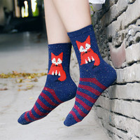 3 Colors Korean Women's Kawaii Animal Wool Socks Winter Women Cute Long Sock Novelty Thermal Cartoon fox stripe Socks