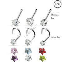 3Pcs Star Heart CZ Zircon 316L Stainless Steel Nose Screw Nose Bone Stud Ring Body Piercing Jewelry Free Shipping