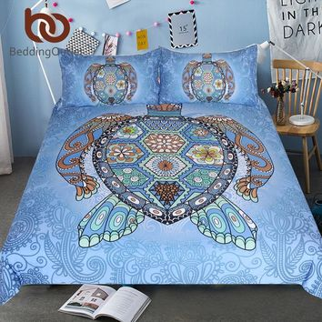 BeddingOutlet Turtles Blue Bedding Set Tortoise Mandala Duvet Bed Cover Animal Home Textiles 3-Piece Flower Paisley Bed Set