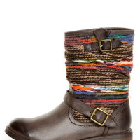 Dollhouse Yarn Brown Multi Yarn-Striped Ankle Boots - $49.00