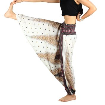 One Size Women Yoga pants Blend Bohemia Multicolor Geometric Print Long Yoga Pants Indian Loose Comfy Harem Trousers Printed