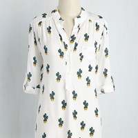Cook Lively! Top in Cacti | Mod Retro Vintage Short Sleeve Shirts | ModCloth.com