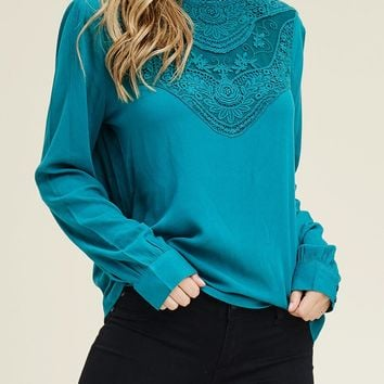 Long Sleeve Neckline Crochet Detail Blouse