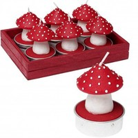 Set Of 6 T-lights Toadstools | DotComGiftShop