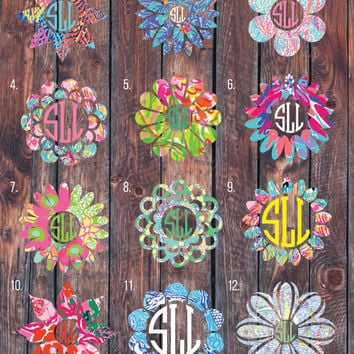 Lilly Pulitzer inspired flower monogram decal, monogram sticker, circle monogram,yeti cooler monogram decal, laptop decal, Car decal.