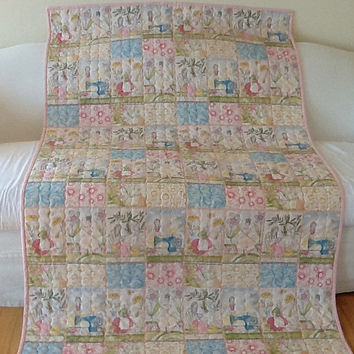 Shabby Chic Ladies Quilting, The Makers, Lap Quilt, Throw Handmade 43 x 69 inches Free Shipping to Canada and USA