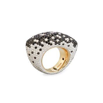 Vhernier 18K White Gold Ring with Black and White Diamonds, Size 7
