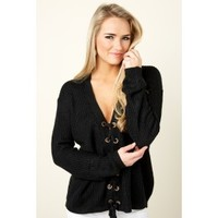 Lace Be Honest Black Lace Up Sweater