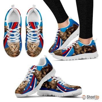Manx Cat Print (White/Black) Running Shoes For Women-Free Shipping