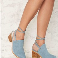 Intentionally Blank Button Denim Mule