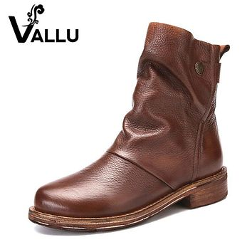 VALLU 2017 Original Design Handmade Women Shoes Ankle Boots Genuine Leather Round Toes Cow Leather Women Boots