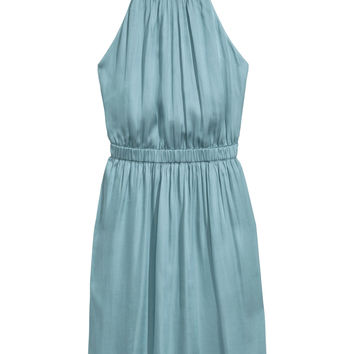 Short satin dress - Light turquoise - Ladies | H&M GB