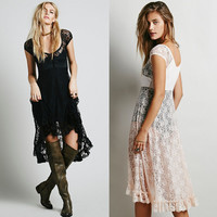 Cap Sleeve Round Neck Crochet Lace Irregular Hem Dress