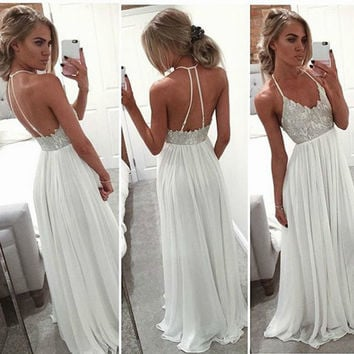 Prom Dresses 2017 Long Chiffon Boho Halter Sexy Back Formal Evening Gown Graduation Party Dress