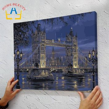 Diy oil painting by numbers hand painted paint coloring by number canvas painting picture home decor drawing London bridge J081