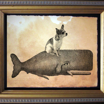 Chihuahua Riding Whale - Vintage Collage Art Print on Tea Stained Paper - Vintage Art Print - Vintage Paper