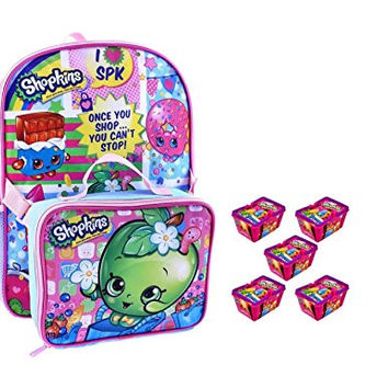 Shopkins Large Backpack Plus Lunch Bag and 5 Bonus Baskets Sealed Toy Food by Moose