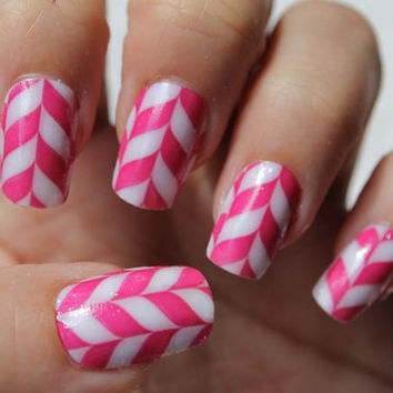 Free Shipping - Pink Candy CHEVRONS Nail Wraps 18 Full Nail Decals (CND1) Nail Art WaterSlide Transfers - Not Stickers or Vinyl