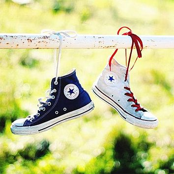"""Converse""Women Men Fashion Canvas Flats Sneakers Sport Shoes High tops Beige"