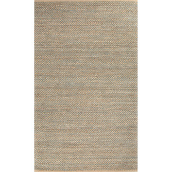 Naturals Stripes Pattern Taupe/Blue Jute and Rayon Area Rug (5x8)