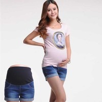 Women's Summer Maternity Elastic Waist Denim Shorts