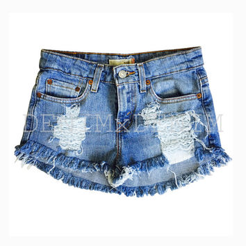 Women's Frayed Distressed Denim Jean Cut Off Shorts High Waisted Low Rise Grunge Ripped Shredded Boho