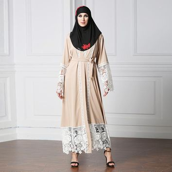 Cardigan Islamic Clothing Hollow Out Lace Stitching Belted Abaya Women Muslim Dress Caftan Malaysia Turkish Dubai Arab Dress