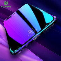 FLOVEME For iPhone 8 8 Plus Case Luxury Plating Gradient Blue Light PC Cases For iPhone 7 6 6s Plus 5 5s SE Blue-Ray Back Cover