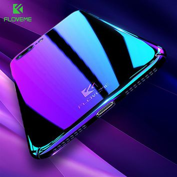 FLOVEME Luxury For iPhone 5S 5 iPhone SE X Cases Blue Light Transparent Case For Apple iPhone X iPhone 7 6 6S Plus Accessories