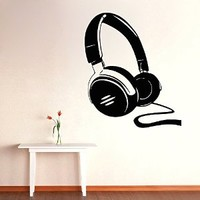 Wall Decor Vinyl Decal Stickes Home Interior Design Art Mural Musical Headphones Kj873