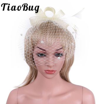 Tiaobug Elegant Beige Lace Bridal Hats 2017 with Veil Hat Wedding Accessories Wedding Veil Hair Clip for Brides Bridesmaid Girl